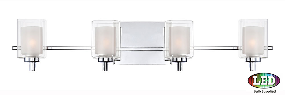 Contemporary Led Vanity Lights : Quoizel KLT8604CLED Kolt Modern Polished Chrome LED 4-Light Vanity Lighting - QUO-KLT8604CLED