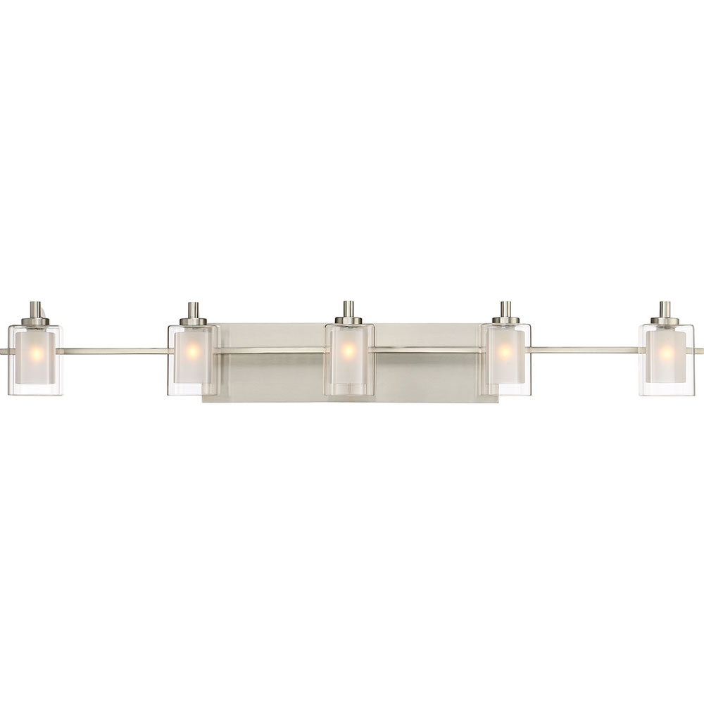 Quoizel klt8605bnled kolt modern brushed nickel led 5 light bathroom vanity light fixture quo for Brushed nickel bathroom lighting fixtures