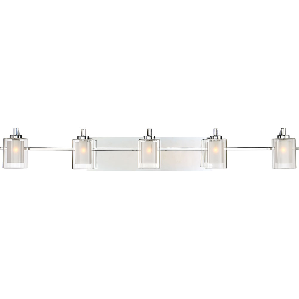 Bathroom Sconces Polished Chrome quoizel klt8605cled kolt contemporary polished chrome led 5-light