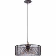 Quoizel LBH2820WT Long Beach Western Bronze Finish 10.5  Tall Drum Pendant Lighting