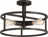 Quoizel NHR1715WT New Harbor Modern Western Bronze 15  Flush Mount Light Fixture