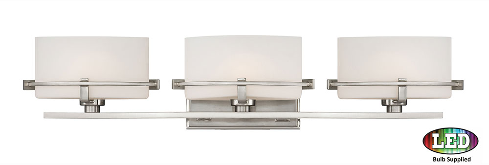 Quoizel NN8603BNLED Nolan Modern Brushed Nickel LED 3-Light Bathroom Vanity Lighting - QUO ...