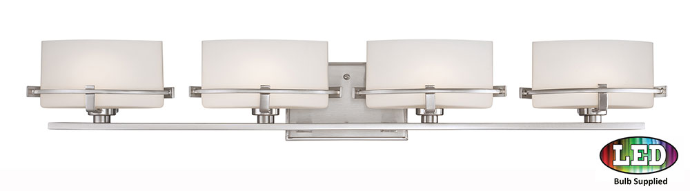 Contemporary Led Vanity Lights : Quoizel NN8604BNLED Nolan Contemporary Brushed Nickel LED 4-Light Bathroom Vanity Light - QUO ...