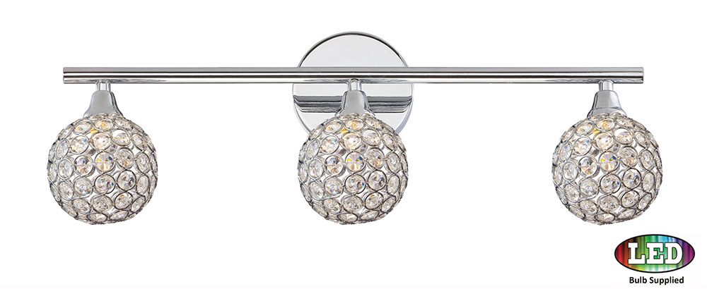 Quoizel PCSR8603CLED Platinum Collection Shimmer Polished Chrome LED 3 Light  Bathroom Vanity Light Fixture
