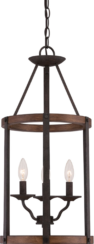 Rustic Foyer Chandelier : Quoizel qf rk rustic black entryway light fixture quo
