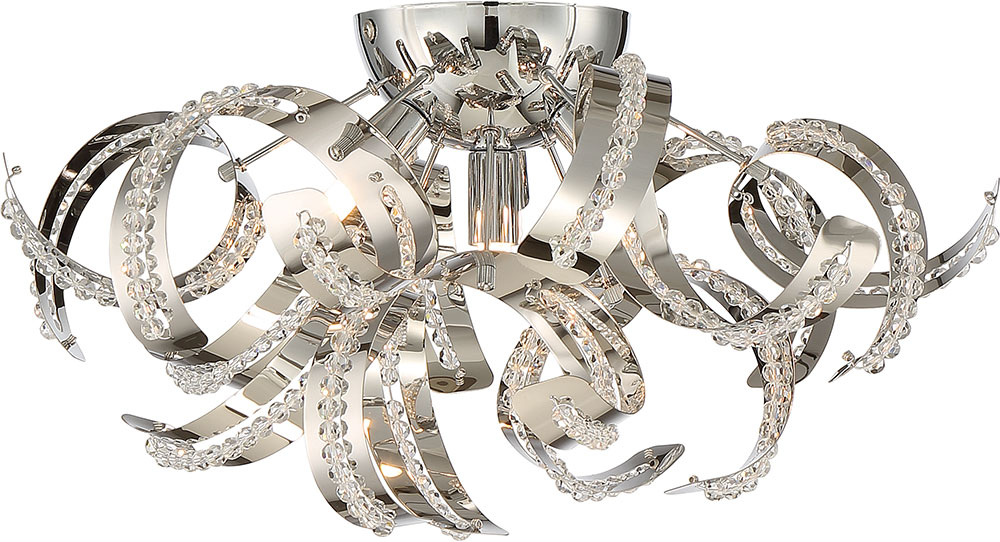 Xenon Ceiling Lights : Quoizel rbn crc ribbons crystal chrome xenon flush