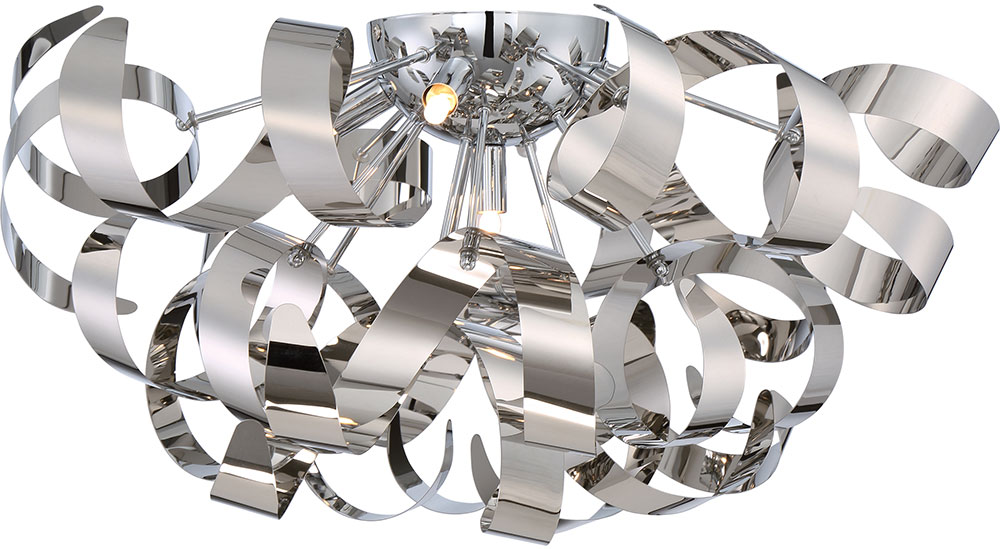 Quoizel RBN1622C Ribbons Modern Polished Chrome Xenon Flush Mount