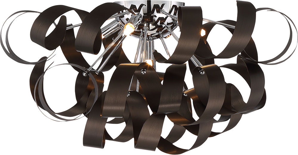 Xenon Ceiling Lights : Quoizel rbn wt ribbons modern western bronze xenon