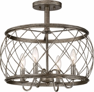 Quoizel RDY1717CS Dury Contemporary Century Silver Leaf 17.5  Flush Lighting