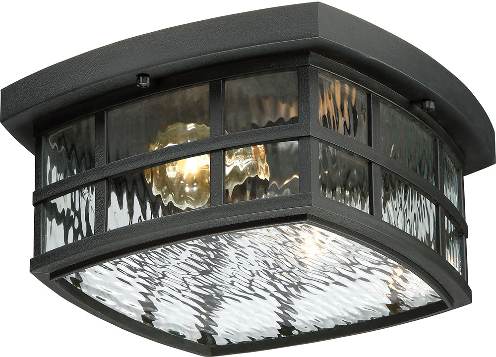 Quoizel SNN1612K Stonington Mystic Black Outdoor Flush Mount Lighting.  Loading Zoom