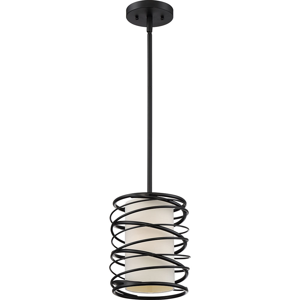 Quoizel spl1508k spiral modern mystic black mini hanging for Modern hanging pendant lights