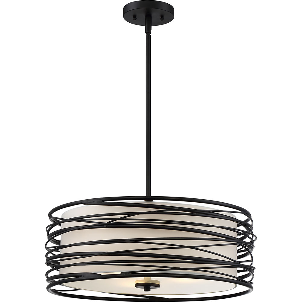 Quoizel spl2820k spiral contemporary mystic black drum for Modern hanging pendant lights