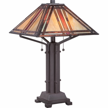 Quoizel TF1672TWT Revere Tiffany Western Bronze Finish 22  Tall Table Light