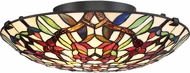 Quoizel TFRB1716VB Red Blossom Tiffany Vintage Bronze Flush Mount Lighting Fixture