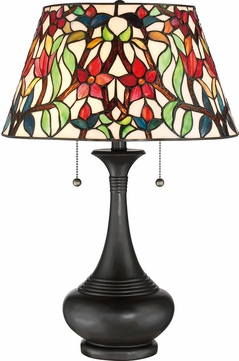 Quoizel TFRB6224TVB Red Blossom Tiffany Vintage Bronze Table Lamp Lighting