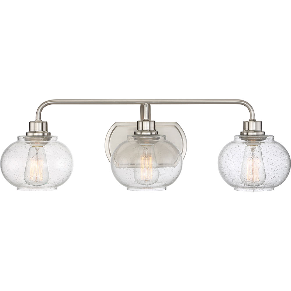 Quoizel Vanity Lights : Quoizel TRG8603BN Trilogy Modern Brushed Nickel Fluorescent 3-Light Bathroom Vanity Lighting ...