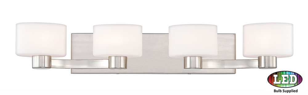Bathroom Light Fixtures In Brushed Nickel quoizel tu8604bnled tatum contemporary brushed nickel led 4-light