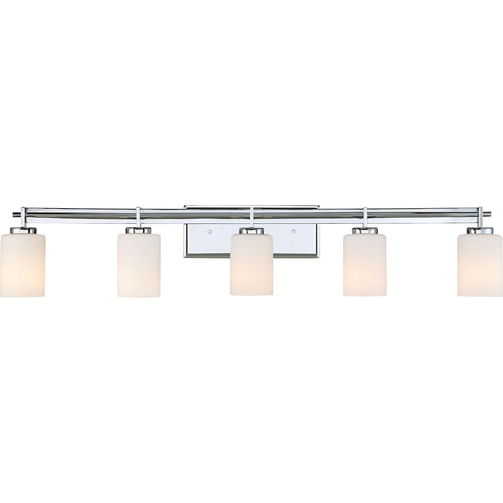 Bathroom Vanity Lights Contemporary : Quoizel TY8605C Taylor Contemporary Polished Chrome 5-Light Bathroom Vanity Light Fixture - QUO ...