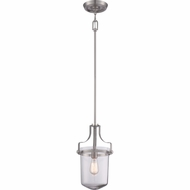 Quoizel UPPS1510BN Uptown Penn Station Brushed Nickel Finish 17  Tall Mini Pendant Hanging Light
