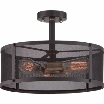 Quoizel UST1716WT Union Station Vintage Western Bronze Finish 11.5  Tall Ceiling Light Fixture
