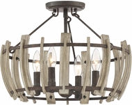 Quoizel WHL1717RK Wood Hollow Contemporary Rustic Black Flush Mount Light Fixture