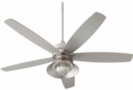 Quorum 14605-65 Portico Satin Nickel w/ Silver Blades Fluorescent Outdoor 60  Home Ceiling Fan