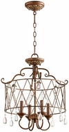 Quorum 2844-4-39 Venice Traditional Vintage Copper Drum Drop Ceiling Light Fixture