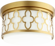 Quorum 342-12-80 Quatrefoil Aged Brass Flush Mount Light Fixture