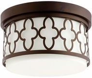 Quorum 342-12-86 Quatrefoil Oiled Bronze Flush Mount Lighting Fixture