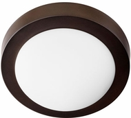 Quorum 3505-9-86 Oiled Bronze w/ Satin Opal 9  Flush Mount Ceiling Light Fixture