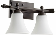Quorum 5077-2-186 Aspen Oiled Bronze w/ Satin Opal 2-Light Bathroom Lighting