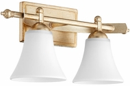Quorum 5077-2-60 Aspen Aged Silver Leaf w/ Satin Opal 2-Light Lighting For Bathroom