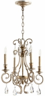 Quorum 6014-4-60 Ansley Traditional Aged Silver Leaf Mini Ceiling Chandelier