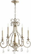 Quorum 6014-5-60 Ansley Traditional Aged Silver Leaf Chandelier Light