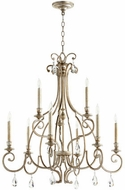 Quorum 6014-9-60 Ansley Traditional Aged Silver Leaf Chandelier Light