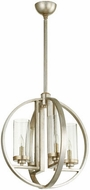 Quorum 603-4-60 Julian Modern Aged Silver Leaf w/ Clear/Seeded 19  Hanging Pendant Lighting
