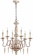 Quorum 6052-6-56 La Maison Traditional Manchester Grey w/ Rust Accents Chandelier Lighting