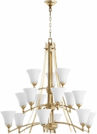 Quorum 6177-15-60 Aspen Aged Silver Leaf w/ Satin Opal Chandelier Lighting