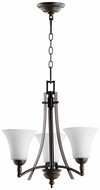 Quorum 6177-3-186 Aspen Oiled Bronze w/ Satin Opal Mini Lighting Chandelier