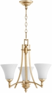 Quorum 6177-3-60 Aspen Aged Silver Leaf w/ Satin Opal Mini Chandelier Lamp