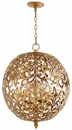 Quorum 6192-4-30 Le Monde Contemporary Vintage Gold Leaf 20  Hanging Lamp