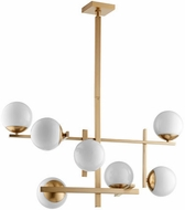 Quorum 628-7-80 Atom Contemporary Aged Brass w/ Opal Chandelier Lighting