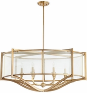 Quorum 642-6-80 Highline Modern Aged Brass Drum Pendant Light Fixture
