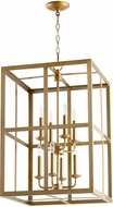 Quorum 6732-8-80 Cuboid Aged Brass 18  Foyer Lighting Fixture