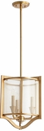 Quorum 682-3-80 Highline Contemporary Aged Brass Drum Hanging Pendant Light