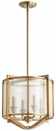 Quorum 682-4-80 Highline Modern Aged Brass Drum Pendant Hanging Light
