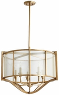 Quorum 682-5-80 Highline Contemporary Aged Brass Drum Hanging Light Fixture