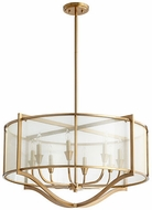 Quorum 682-8-80 Highline Modern Aged Brass Drum Drop Lighting