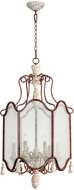 Quorum 6852-6-56 La Maison Traditional Manchester Grey w/ Rust Accents Foyer Lighting Fixture