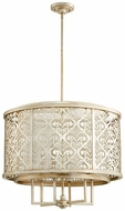 Quorum 6875-6-60 Bastille Contemporary Aged Silver Leaf Drum Ceiling Pendant Light